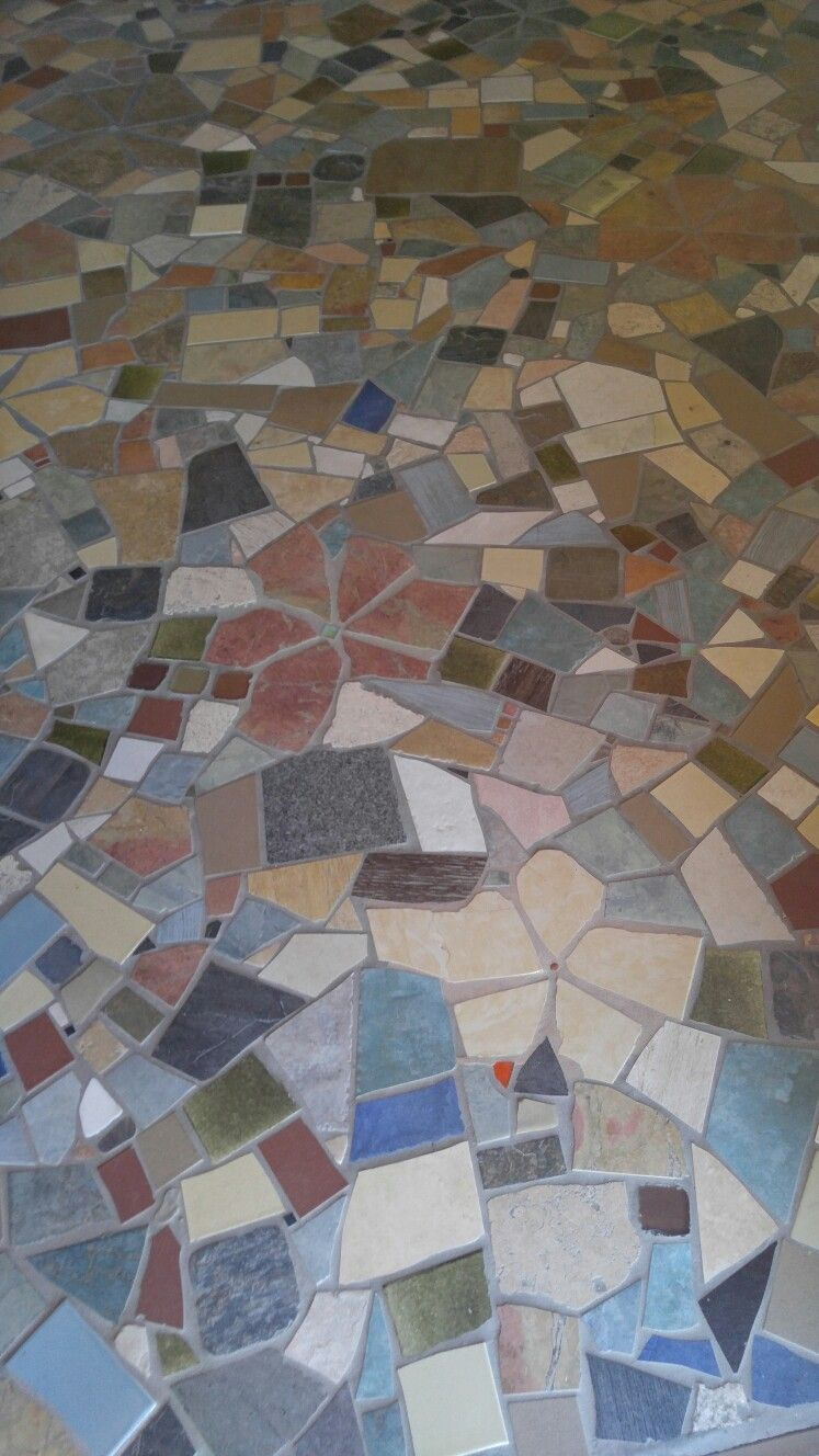 Tile floor made from broken tile  For our Home  Tile