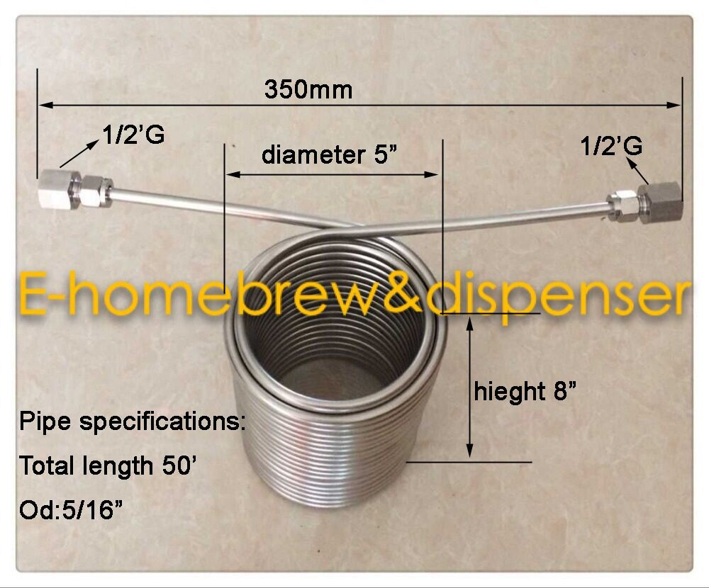 50 Stainless Steel Coil 5 Diameter Double Layer Beer Coil Cooler