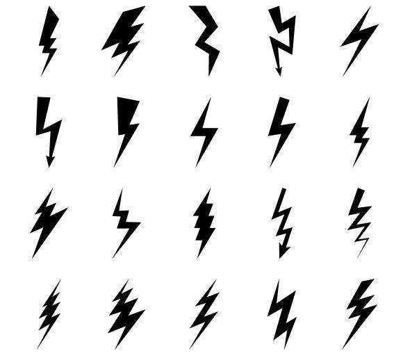 lightning bolt icons by ssstocker on creativemarket. Black Bedroom Furniture Sets. Home Design Ideas