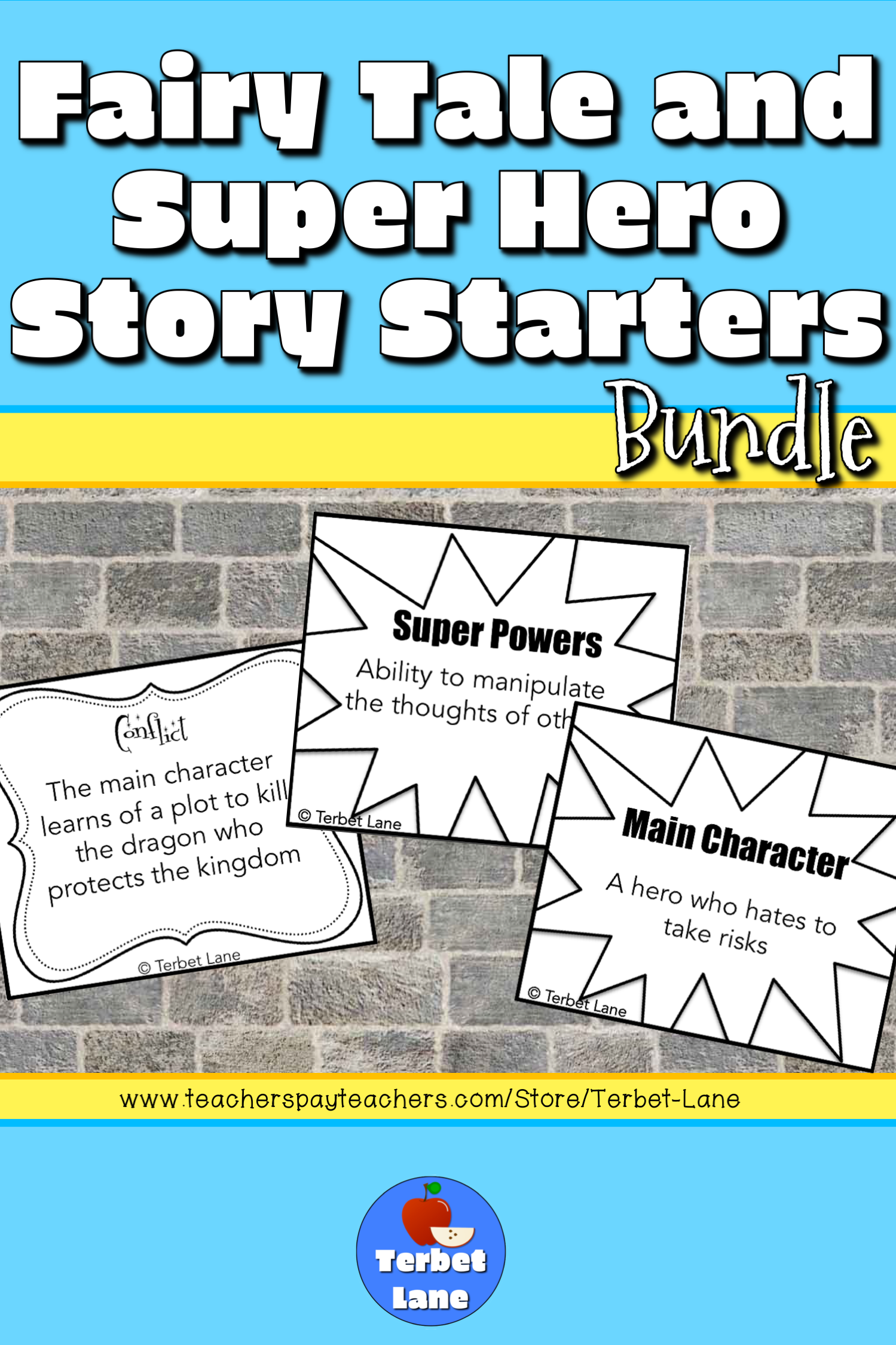 Fairy Tales And Super Heroes Writing Prompt Cards Bundle