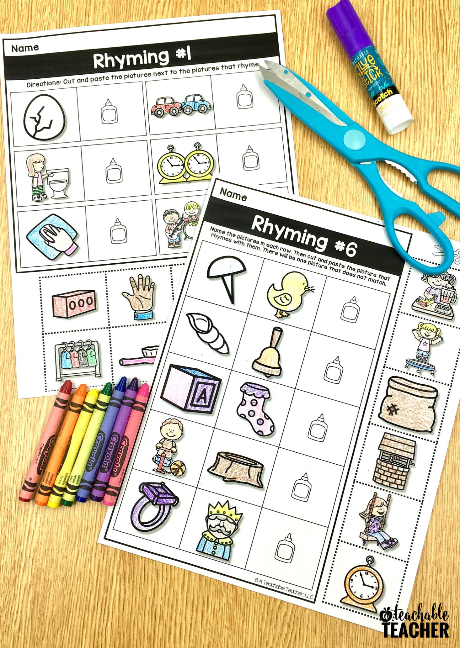 Free Phonemic Awareness Worksheets Interactive And Picture Based Preschool Worksheets Rhyming Activities Phonemic Awareness [ 2067 x 1466 Pixel ]