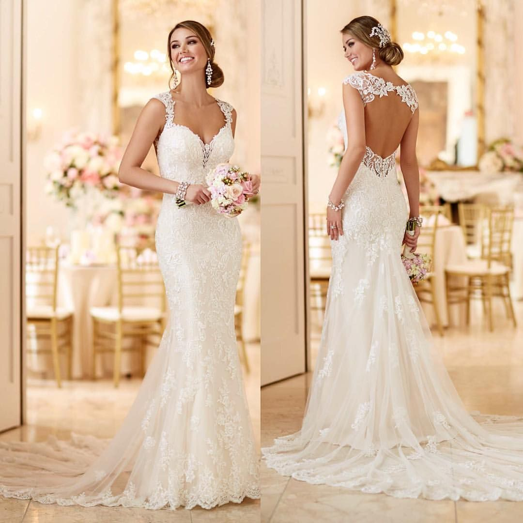 Lace wedding dress with cap sleeves sweetheart neckline   Likes  Comments  Brides Of Bakewell bridesofbakewell on