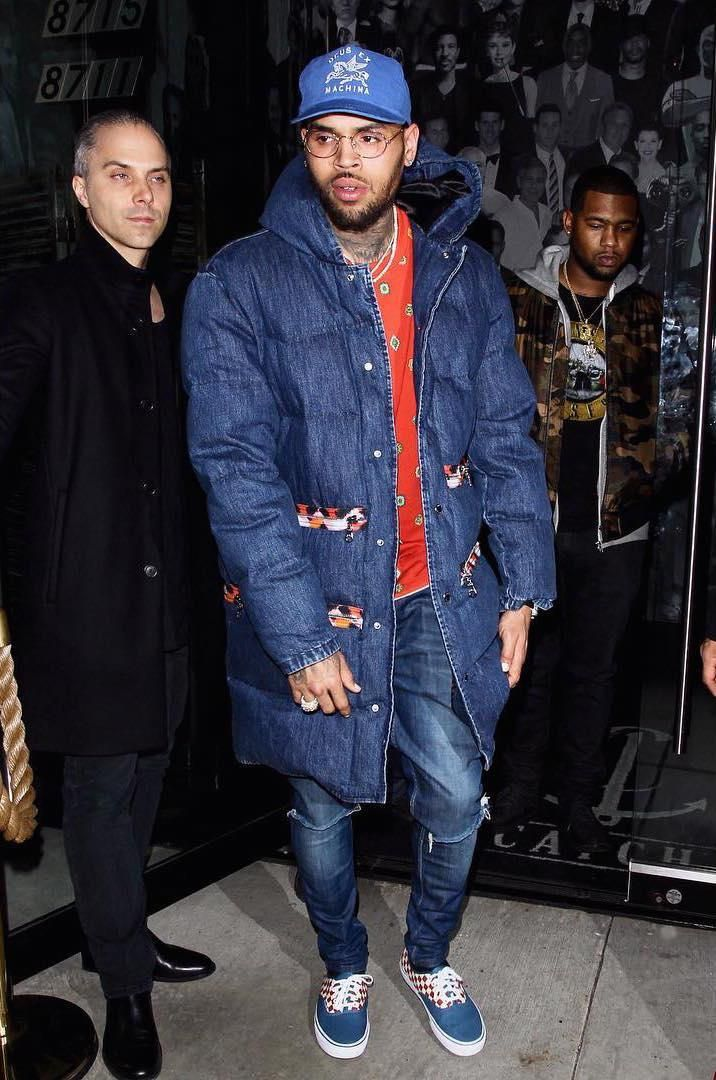 Chris Brown Wearing Kenzo X H Amp M Padded Blue Denim Leopard