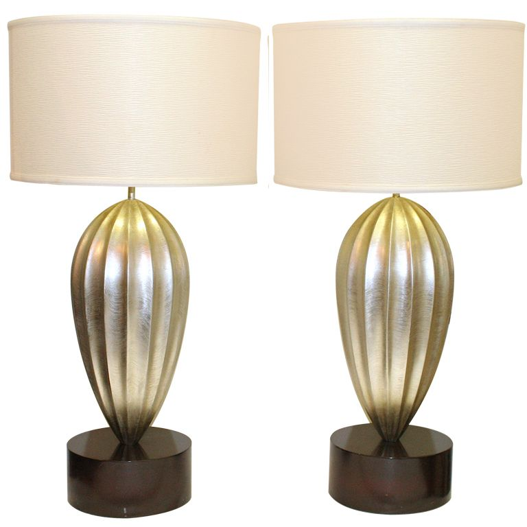 Pair Of Silver Gilt Wooden Lamps 1stdibs Com Vintage Table Lamp Lamp Wooden Lamp