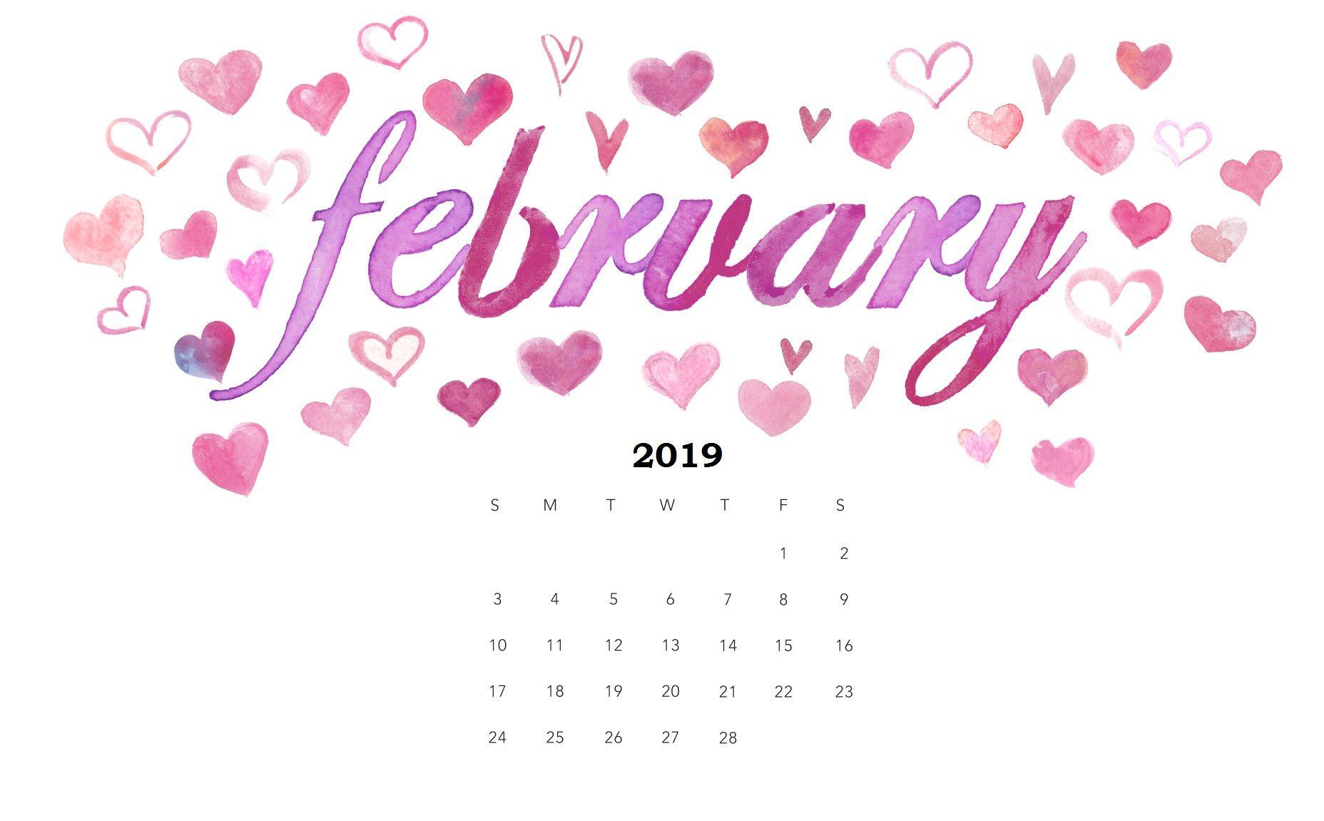 February Cute Desktop Calendar 2019 Watercolor February 2019 Cute Desktop Calendar | February 2019