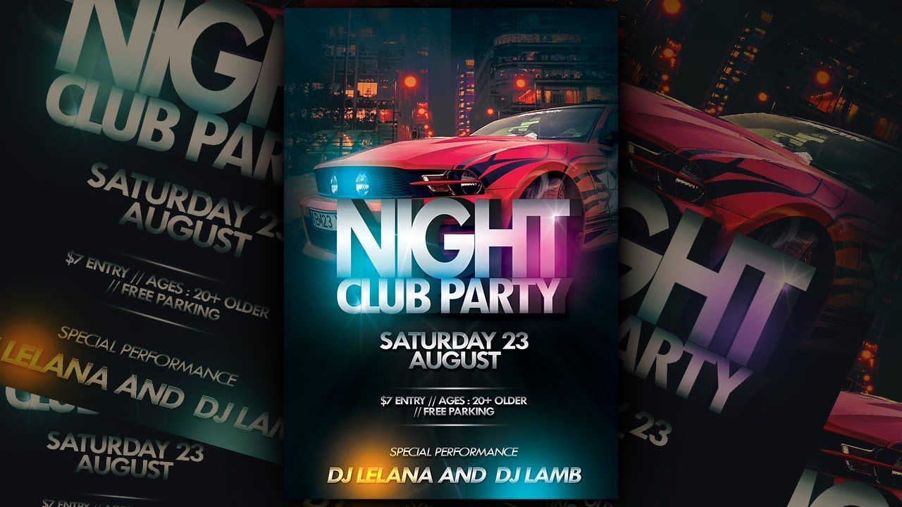 Nightclub Party Flyer Photoshop Tutorial  D E S I G N  Ref