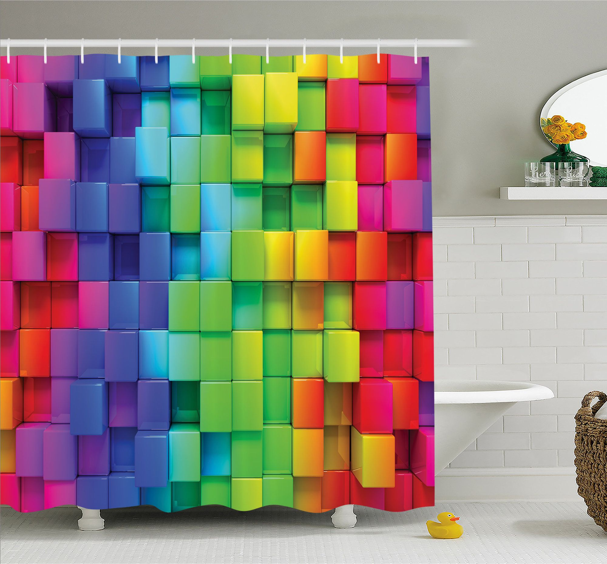 Bathroom Decor for 12 Hooks Included for Fabric Shower Curtain Set by Ambesonne