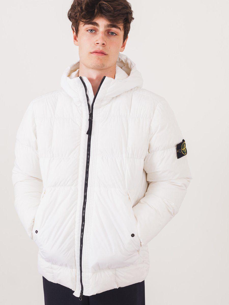 Stone Island White Down Hooded Jacket On Body Hooded Jacket Jackets Hoods [ 1200 x 900 Pixel ]