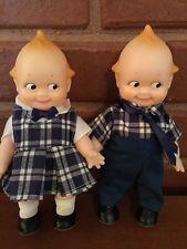 "Vintage Jesco Kewpie Twins Boy & Girl Vinyl 6.5"" Blue Plaid 1991 <3"