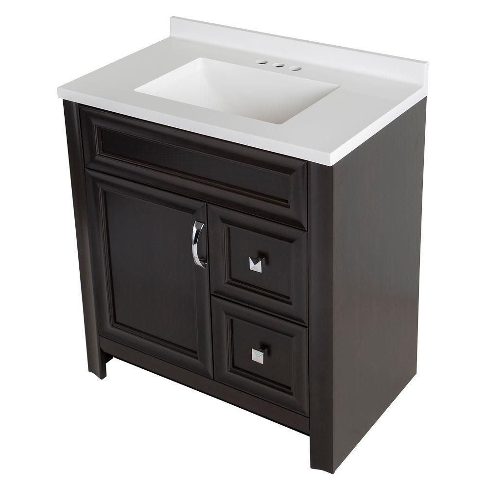 Glacier Bay Candlesby 30 1/2 In. W X 18 3/4 In. D Bath Vanity In Charcoal  With AB Vanity Top In White
