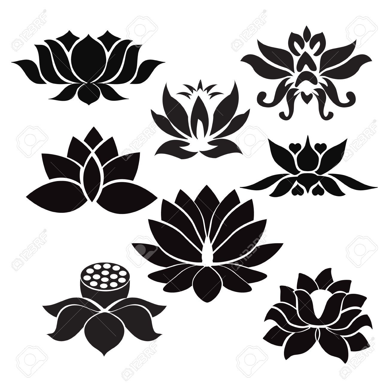 Pin by isa virtual on flowers design pinterest photo about vector lotus flowers silhouettes illustration on white background 50278812 izmirmasajfo