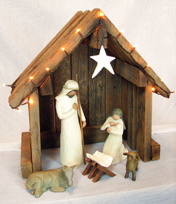I like this creche so much better than the willow tree one i beautiful and simple stable for the nativity set solutioingenieria Choice Image