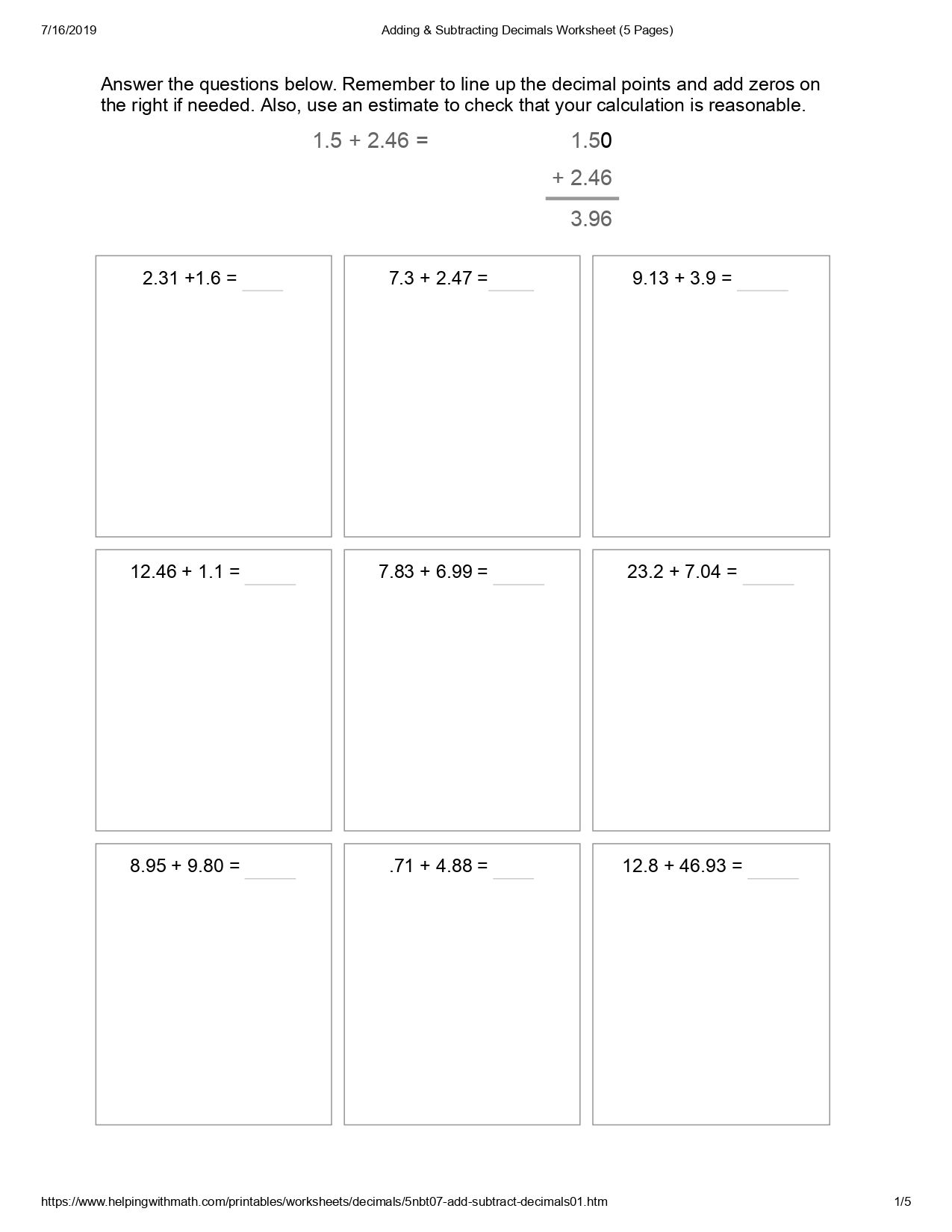 Best 10 Addition And Subtraction Worksheet