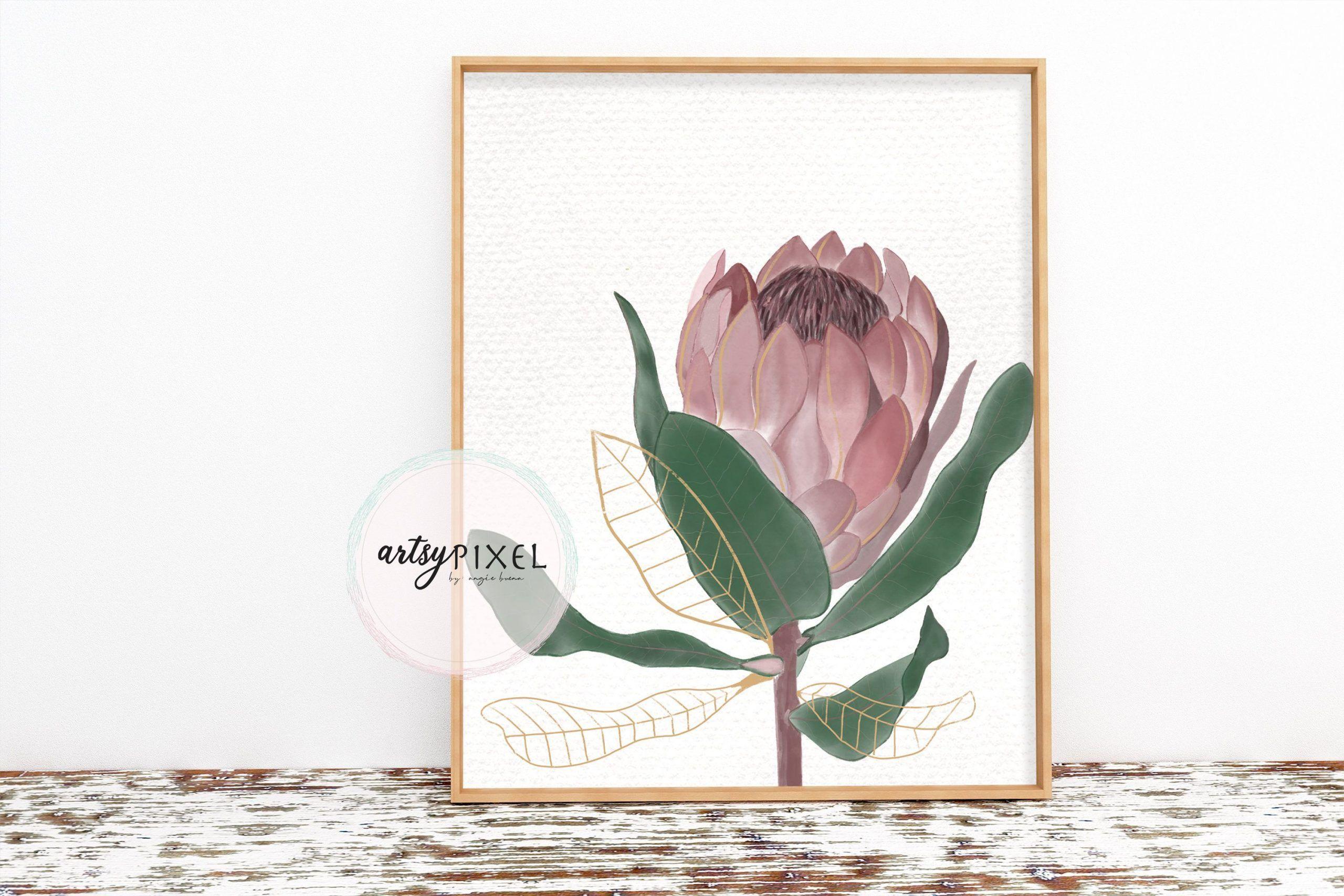 Protea flower digital print 01, digital download, instant download printable#dig...#digital #download #flower #instant #print #printabledig #protea