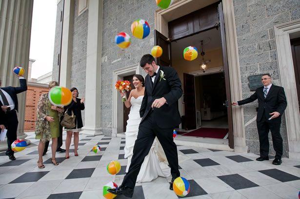 5 Unique Wedding Exits Beach Ball Exit WeddingWire The Blog