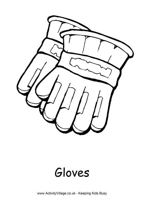 Gloves Colouring Page Winter Activities For Kids Business For