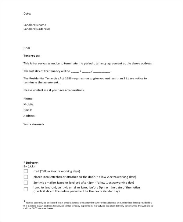 Notice Lease Termination Letter From Landlord Tenant Sample  Home