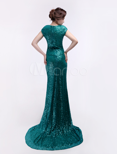 Dark Green Sweep Sequined Mermaid Prom Dress with Fashion Jewel Neck ...