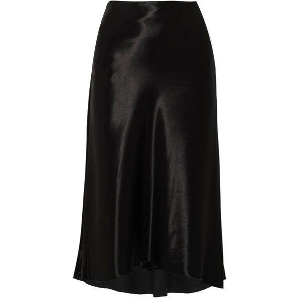 e59ba2088 Tibi Satin skirt ($410) ❤ liked on Polyvore featuring skirts, black, mid  calf skirts, bias cut skirt, tibi, draped skirts and wet look skirt