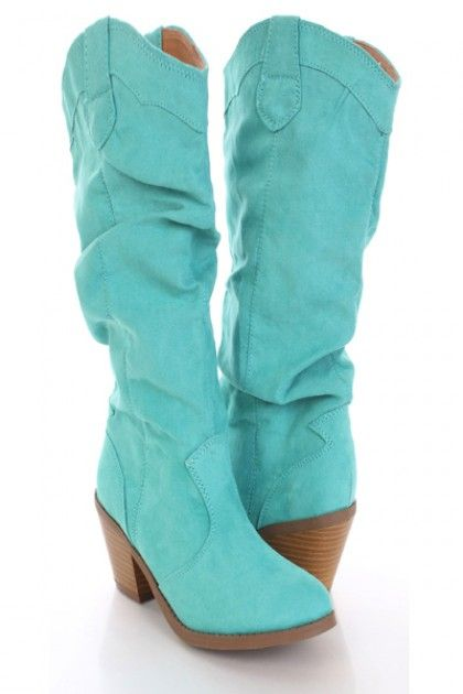 Mint Faux Suede Slouchy Slip On Cowboy Boots @ Amiclubwear Boots ...