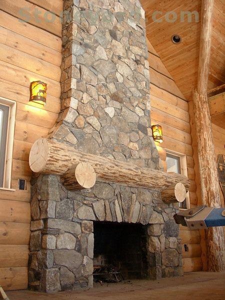 Fieldstone Fireplace | new england fieldstone fireplace and chimney for country cabin & Fieldstone Fireplace | new england fieldstone fireplace and chimney ...