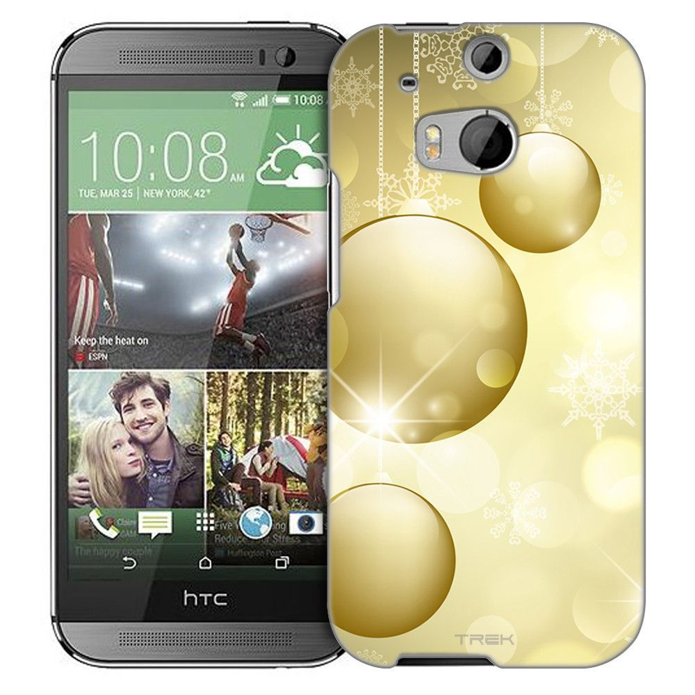 HTC One M8 Christmas Gold Ornaments Slim Case