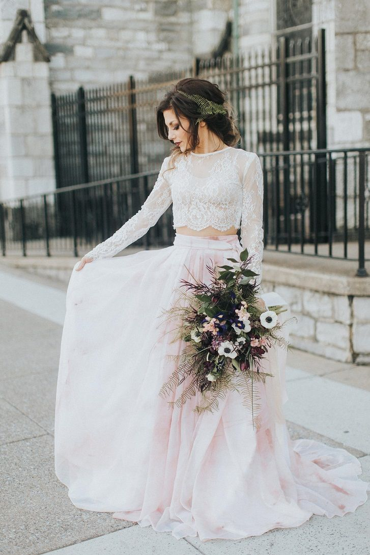 Long sleeves Lace wedding dress separates with Watercolor Skirt ,Blue Wedding Separates,Color Wedding Dress ,Blush crop top wedding eress #croptop #weddingdress #wedding