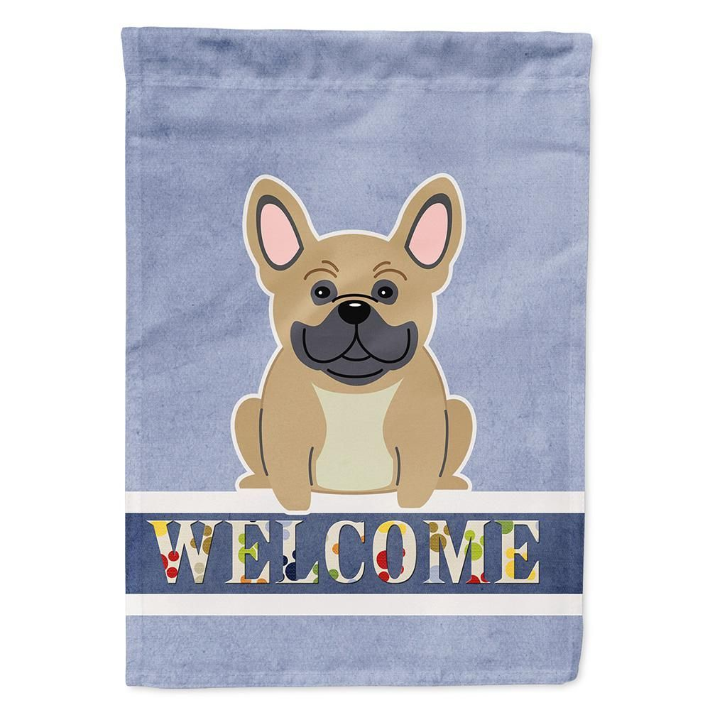 Caroline's Treasures 28 in. x 40 in. Polyester French Bulldog Cream Welcome Flag Canvas House Size 2-Sided Heavyweight-BB5591CHF - The Home Depot #frenchbulldogfullgrown Caroline's Treasures #frenchbulldogfullgrown