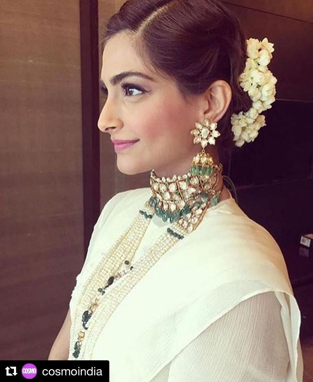 Sonam Kapoor S Hairstyle Is On Fleek For A Wedding Love The Braided Updo Complete With Gajra Makeu Indian Hairstyles Hairdo Wedding Indian Wedding Hairstyles