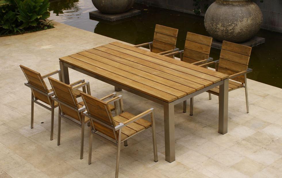 Muebles de madera y metal para jardin exterior | Comedores ...