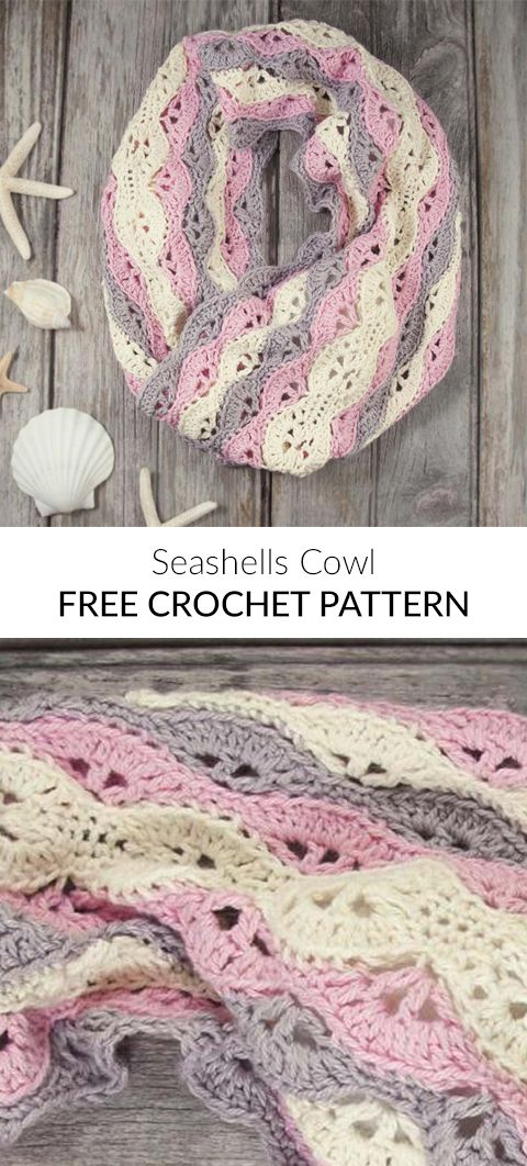 Seashells Cowl Free Crochet Pattern | crochet and knit | Pinterest ...