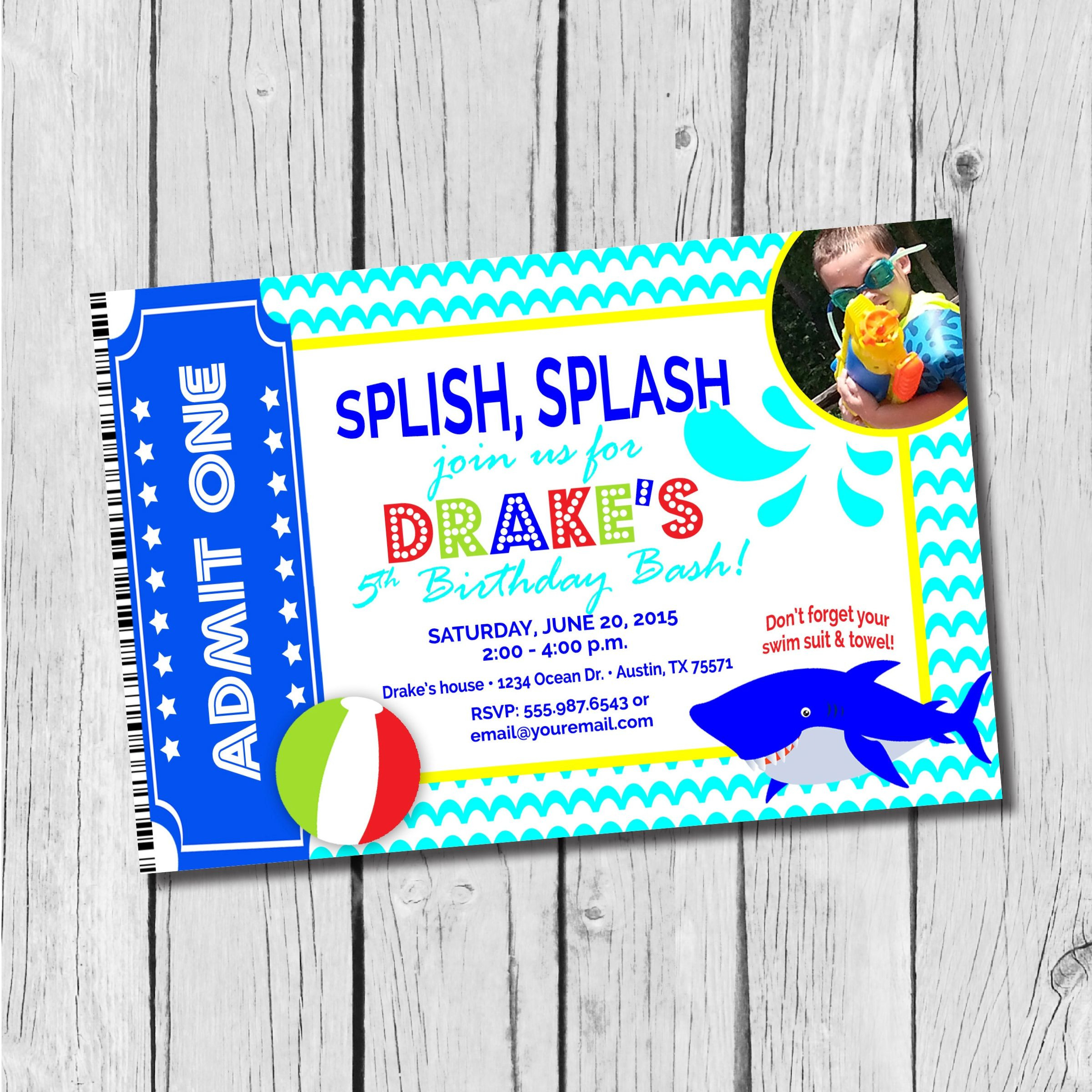 Pool Party Birthday Invitation Ticket Invitation Photo Card