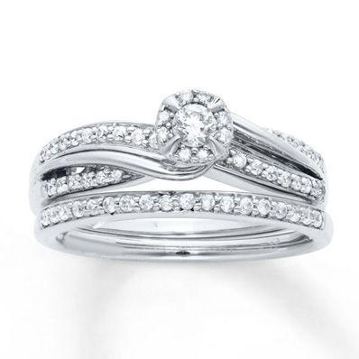 Diamond Bridal Set 1 3 Ct Tw Round Cut 10k White Gold Wedding It S Happening Kay Jewelers Bridal Sets Bridesmaid Jewelry Sets Engagement Rings