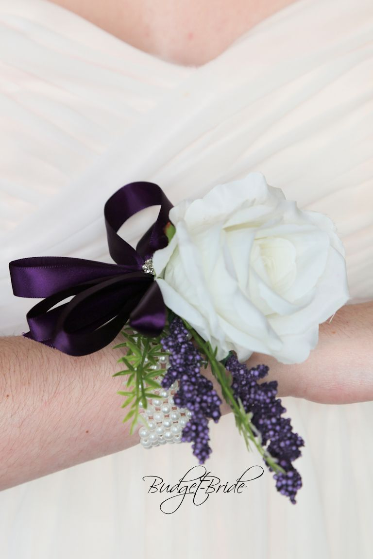 White And Plum Mothers Wedding Corsage Purple In 2019 Purple