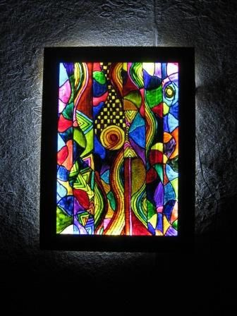 Aquarius Stained Gl Painting With Backlit By