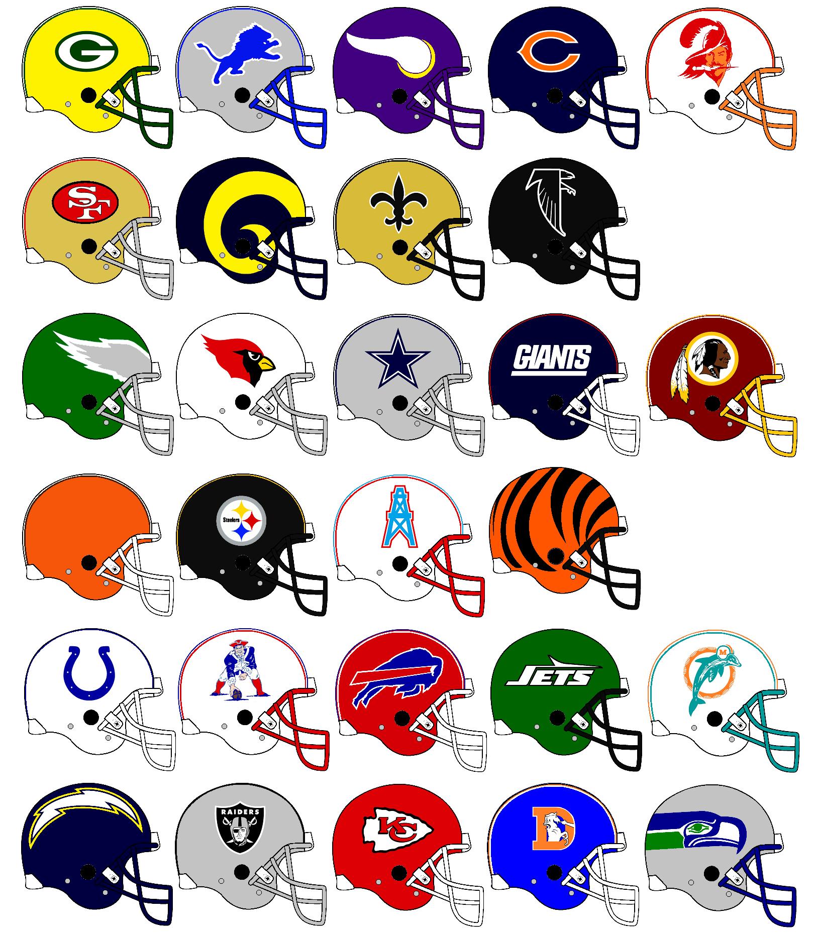 nfl team helmets clipart [ 1624 x 1864 Pixel ]