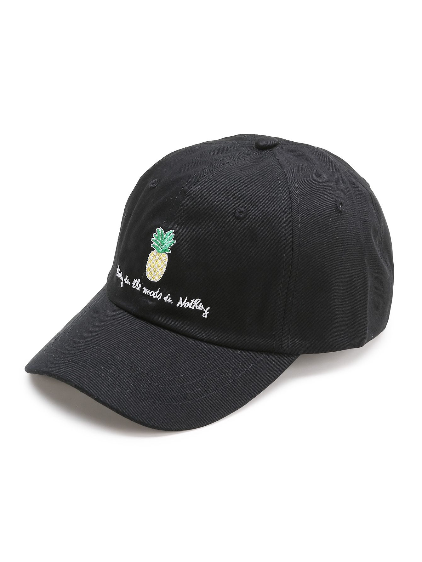 84421cdc25fa2 Shop Black Pineapple Embroidery Baseball Cap online. SheIn offers Black  Pineapple Embroidery Baseball Cap   more to fit your fashionable needs.
