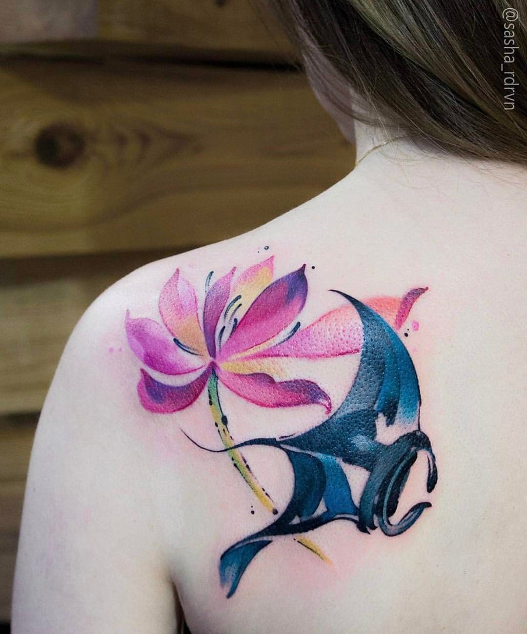 Image result for stingray with flowers tattoo