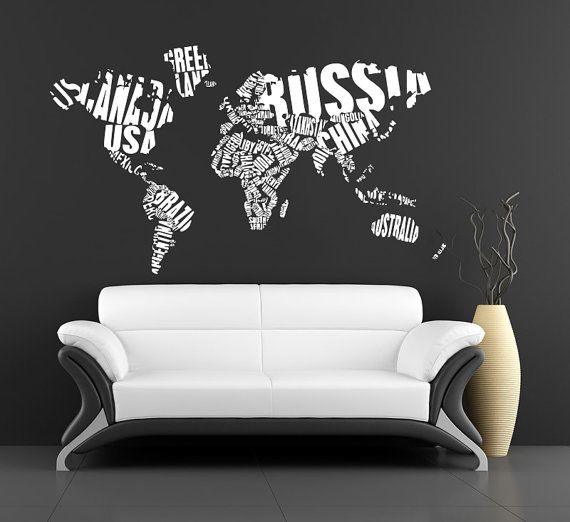 World Map Wall Decals World Map Country Words Wall By Bestdecals