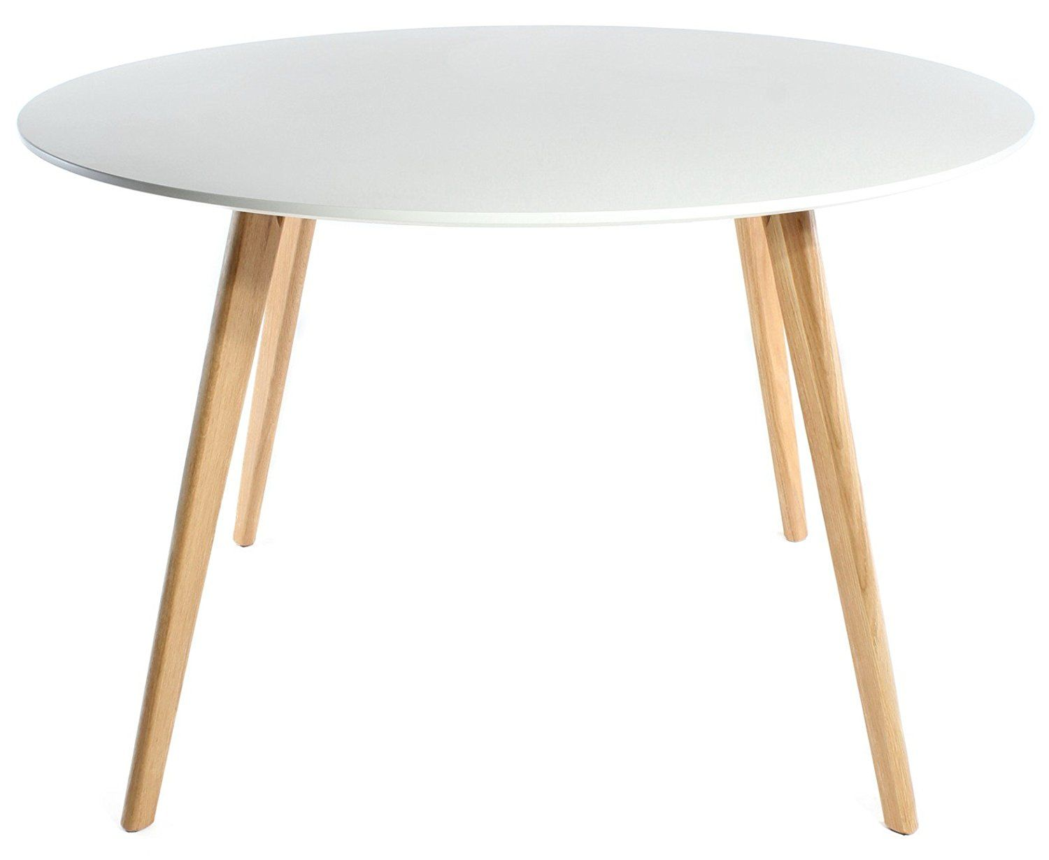 Charles Jacobs Round Retro Lounge Kitchen Dining Table With Solid Oak Wood  Legs And White Matt