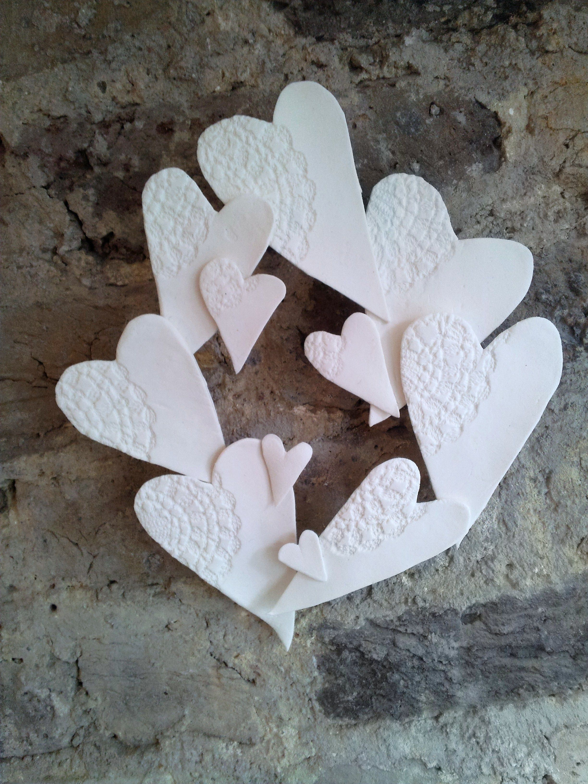 Valentines Decoration With Air Dry Clay A Doily And A Coat Hanger Air Dry Clay Projects Diy Valentines Decorations Clay Crafts