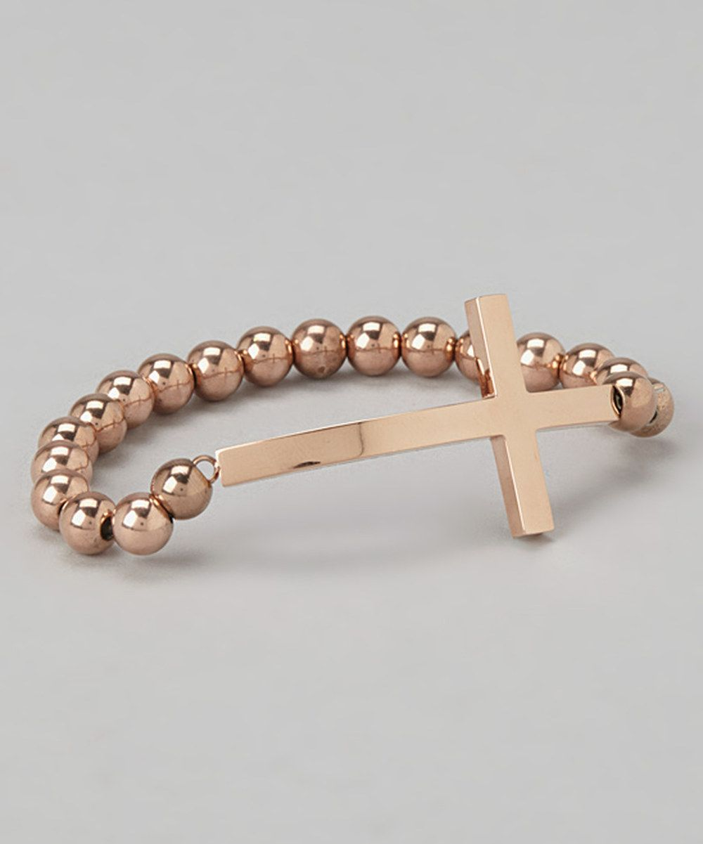Take a look at this Rose Gold Cross Stretch Bracelet on zulily today!