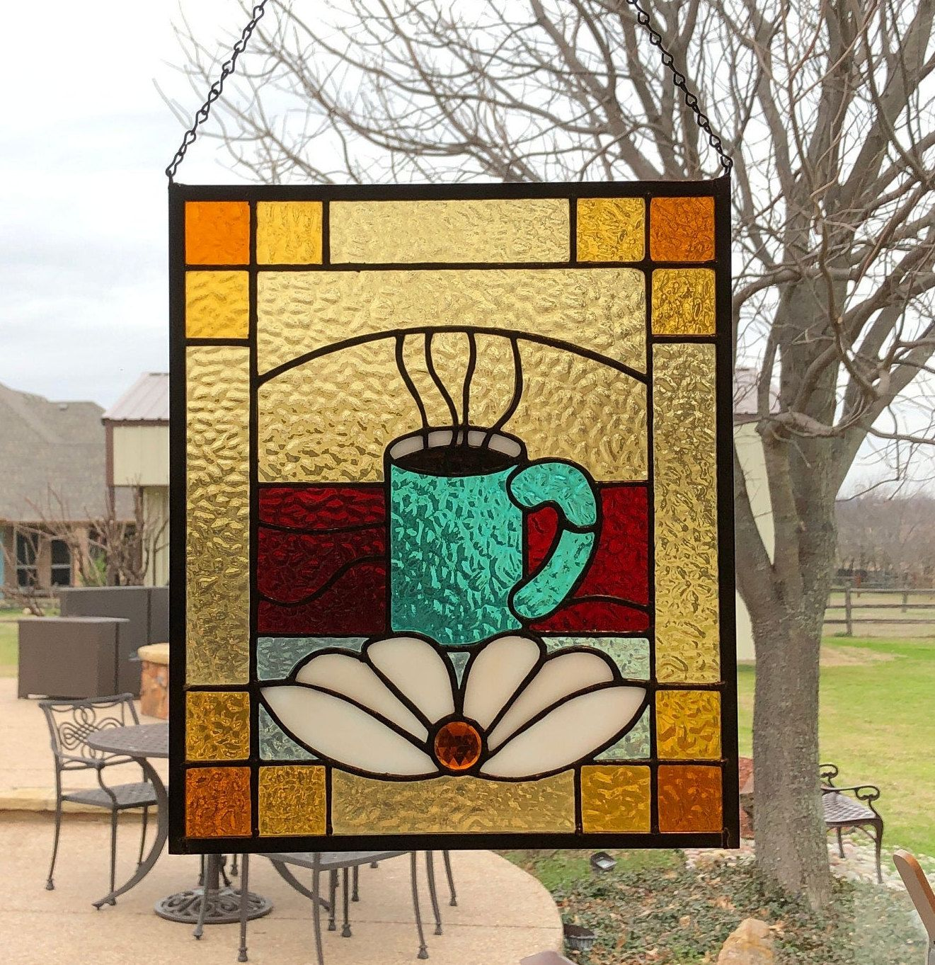 Coffee Cup Sign Stained Glass Panel *Cafe Display Window