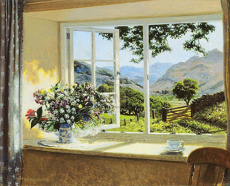картина вид из окна в сад это