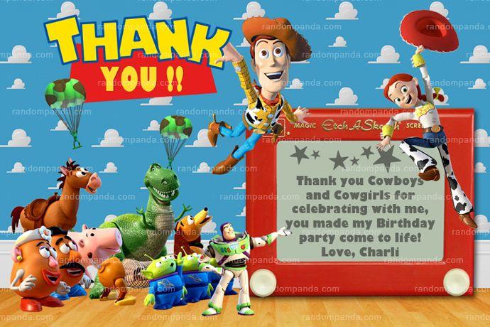 Toy Story Thank You Card Jessie Woody Birthday Thanks Note Toy Story Invitations Toy Story Party Personalized Toys