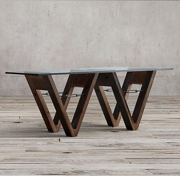 RHs Reclaimed Wood Glass VForm Rectangular Dining TableLos - Reclaimed wood and glass dining table