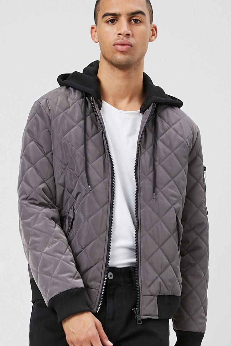 Hooded Quilted Bomber Jacket Forever 21 Quilted Bomber Jacket Jackets Mens Jackets [ 1125 x 750 Pixel ]
