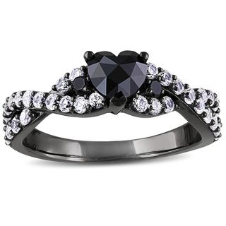 Miadora Silver Created White Sapphire and 1/2ct TDW Black Diamond Heart Ring | Overstock™ Shopping - Top Rated Miadora Gemstone Rings