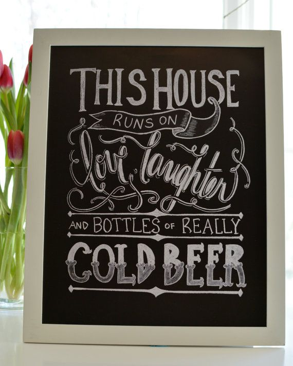 Cold Beer Print Chalkboard Art Print Bar Art By Sugarbirdprints