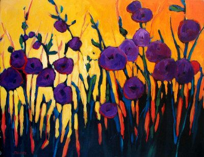 Purple Flowers against a Yellow Sky - Patty Baker